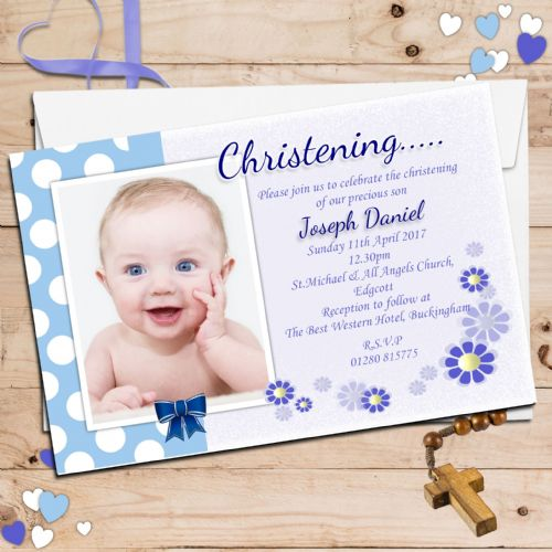 10 Personalised Christening Baptism Photo Invitations N42